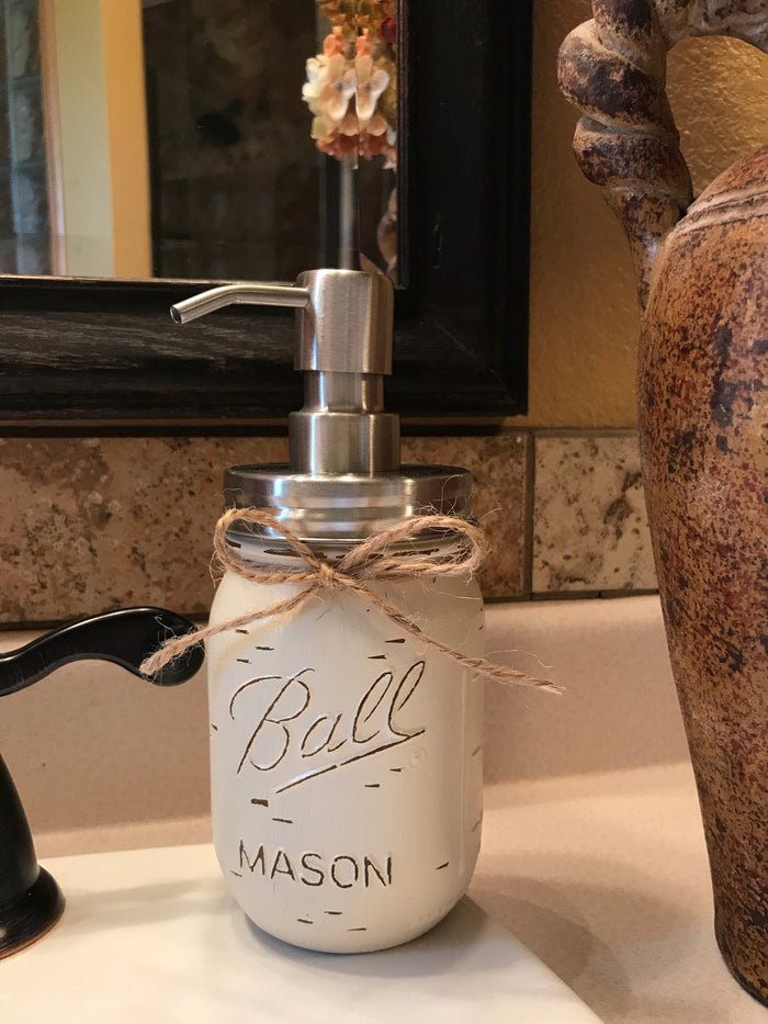Mason JAR SOAP Stainless Steel Silver DISPENSER Distressed Ball Pint *Kitchen Bathroom Blue White