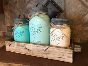 MASON Jar Kitchen CANISTER SET w/ metal lids, Utensil Holder, 2 Pint Jars +1 Quart +Optional Flower - Wooden Hearts Inc