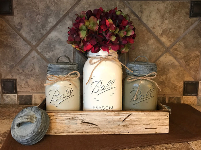 MASON Jar Kitchen CANISTER SET w/ metal lids, Utensil Holder, 2 Pint Jars +1 Quart +Optional Flower