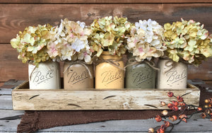 FALL MASON Jar Decor Thanksgiving Centerpiece (Flowers optional) - Wood TRAY + 5 Ball Pint Jars - Wooden Hearts Inc