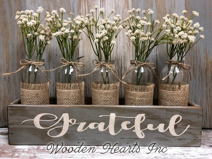 GRATEFUL Wood Box ONLY Tray table centerpiece (glass bottle jars / greenery optional)
