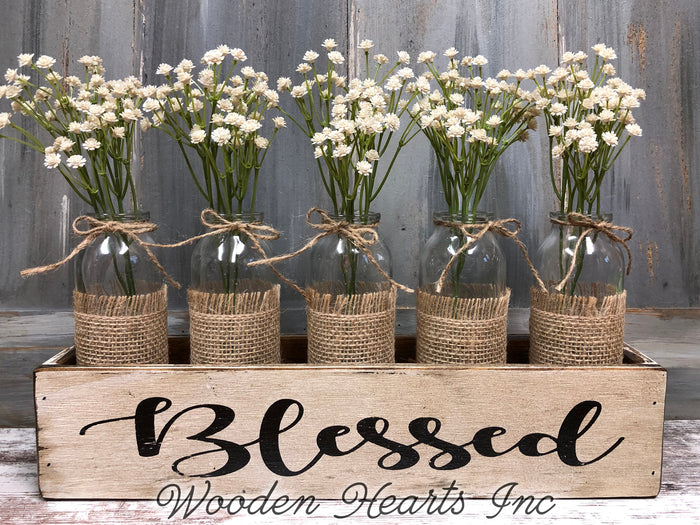 BLESSED Wood Box ONLY Tray table centerpiece (glass bottle jars / greenery optional)