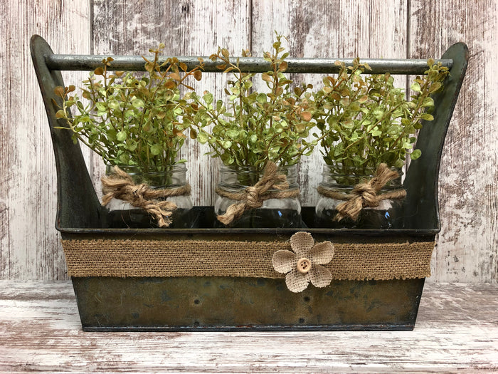 Metal Tool Box w/ Dividers -GRUNGY centerpiece (jars & flowers optional) *Bathroom Kitchen