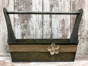 Metal Tool Box w/ Dividers -GRUNGY centerpiece (jars & flowers optional) *Bathroom Kitchen - Wooden Hearts Inc