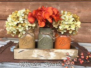 FALL MASON 3 Jars Wood Tray Decor for Thanksgiving Centerpiece (Flowers optional) Ball Pint - Wooden Hearts Inc