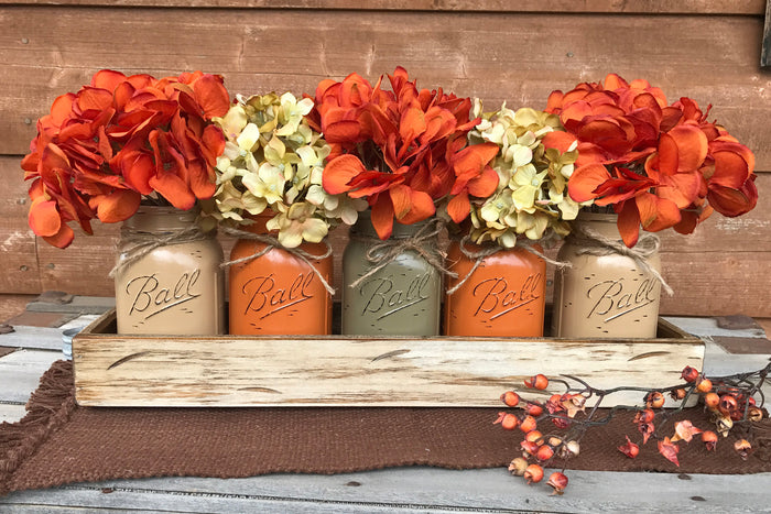 FALL MASON Jar Decor Thanksgiving Centerpiece (Flowers optional) - Wood TRAY + 5 Ball Pint Jars