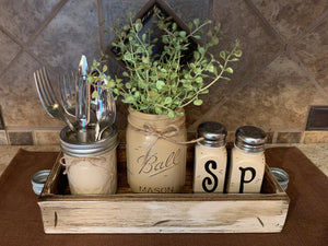 Ball MASON Jar Kitchen 5pc SET Wood TRAY, Pint Vase Flower, Salt & Pepper Shakers Jars Centerpiece - Wooden Hearts Inc
