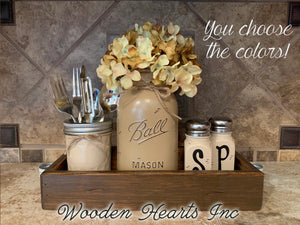 Kitchen Table Centerpiece Jar Set 5pc, Wood TRAY, Quart Vase Flower, Salt & Pepper Mason Ball Jars - Wooden Hearts Inc