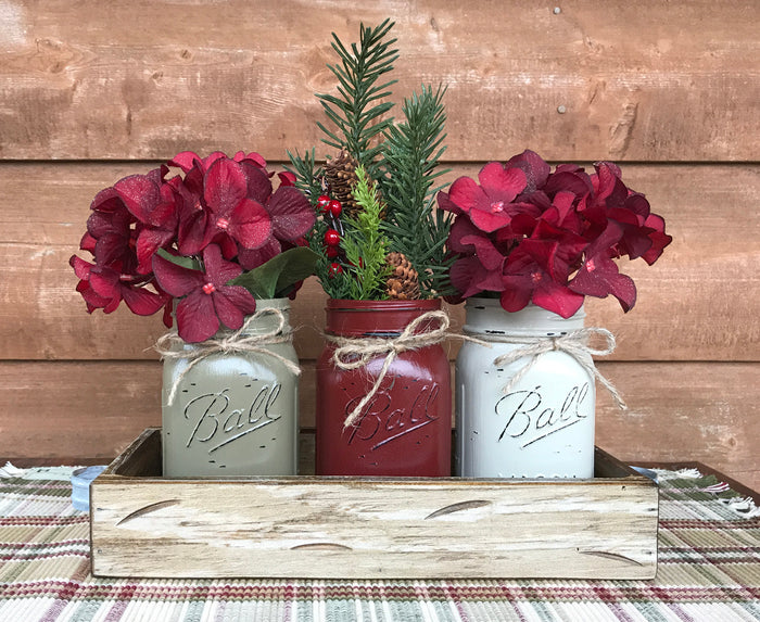 CHRISTMAS HOLIDAY 3 Pint Jar + Wood Tray Centerpiece (Florals / Flowers optional) Ball Mason