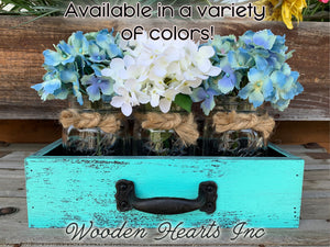 MASON Jar Centerpiece DRAWER Wood Box with 3 Ball Canning Jars Handle (Optional Flowers) - Wooden Hearts Inc