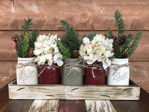 CHRISTMAS HOLIDAY Large Tray Centerpiece + 5 Pint Jars (Florals / Flowers optional) Ball Mason - Wooden Hearts Inc