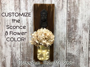 LIGHTED Wall SCONCE with FLOWER *Battery Operated Lights 6 Hr Timer *JAR -Rustic BROWN Wood - Wooden Hearts Inc