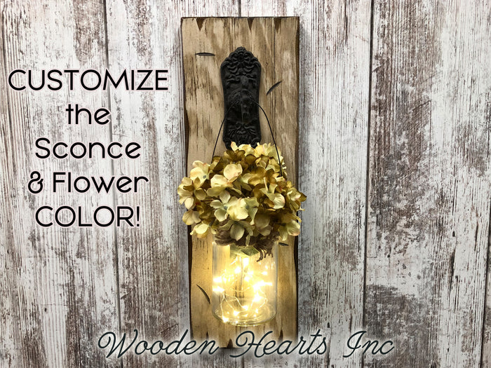 LIGHTED Wall SCONCE with FLOWER *Battery Operated Lights 6 Hr Timer *JAR -Rustic BROWN Wood