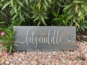 Lets Cuddle 3D Wood Horizontal Wall Home Sign 9x24 White Gray Wedding GIft - Wooden Hearts Inc
