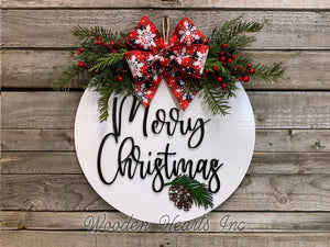 "Personalized Christmas Door Hanger Happy Holidays, Wreath Custom Last Name 16"" Round Sign - Wooden Hearts Inc"