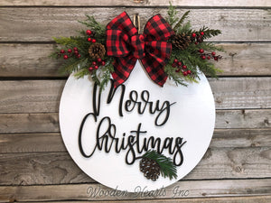 "Seasons Greetings Door Hanger Happy Holidays, Merry Christmas, Wreath Custom 16"" Round Sign - Wooden Hearts Inc"