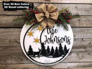 "Personalized Christmas Door Hanger Round Sign 16"" Deer/Moon - Wooden Hearts Inc"