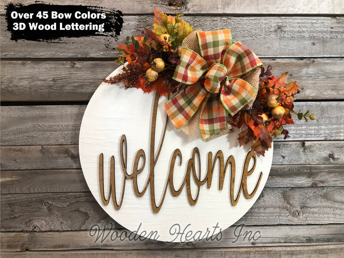 "FALL Door hanger Wreath WELCOME Wood Round Sign 16"" 3D Wood Lettering Bow Leaves Distressed"