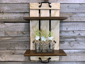Wall SHELF Wood Tray Style with Metal Handles, *Bathroom Kitchen *Distressed White Brown Gray - Wooden Hearts Inc