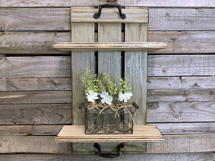 Wall SHELF Wood Tray Style with Metal Handles, *Bathroom Kitchen *Distressed White Brown Gray