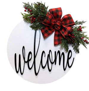 "Welcome Christmas Door Hanger Wreath with Pine Berries Greenery and Bow 16"" Round Sign - Wooden Hearts Inc"