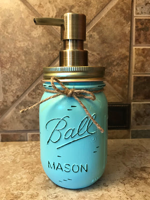 Mason JAR SOAP Brass Bronze Gold Metal DISPENSER Distressed Ball Pint *Kitchen Bathroom Cream White - Wooden Hearts Inc