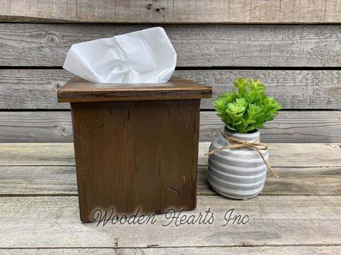 TISSUE BOX COVER, Wood Kleenex Holder, Square, Kitchen Bathroom, Wooden distressed
