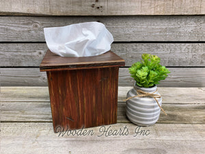 TISSUE BOX COVER, Wood Kleenex Holder, Square, Kitchen Bathroom, Wooden distressed - Wooden Hearts Inc