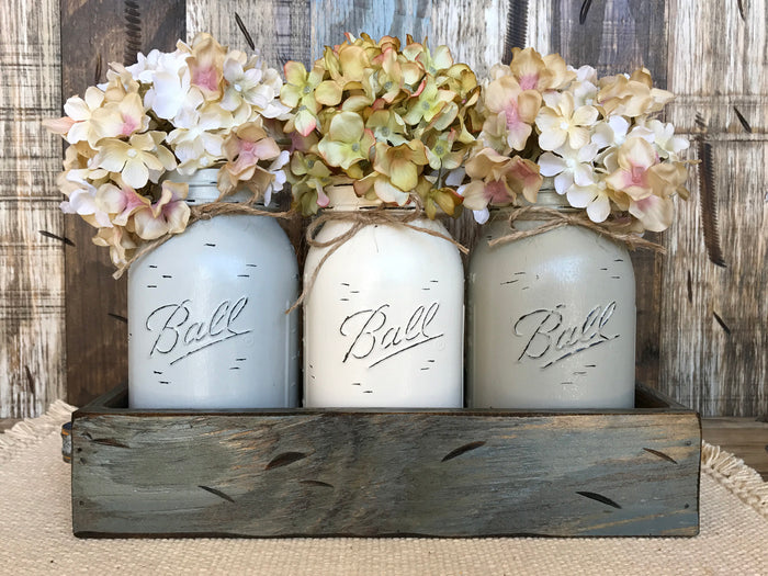 MASON Jar Centerpiece *3 QUART Jars in Wood Tray (Flowers optional) Table Decor