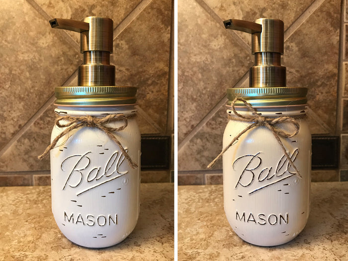 Mason JAR SOAP Brass Bronze Gold Metal DISPENSER Distressed Ball Pint *Kitchen Bathroom Cream White