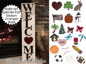 Interchangeable Additional Pieces (Season Changer WELCOME Sign -Not Included) Christmas Easter Fall - Wooden Hearts Inc