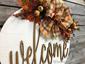 "FALL Door hanger Wreath WELCOME Wood Round Sign 16"" 3D Wood Lettering Bow Leaves Distressed - Wooden Hearts Inc"