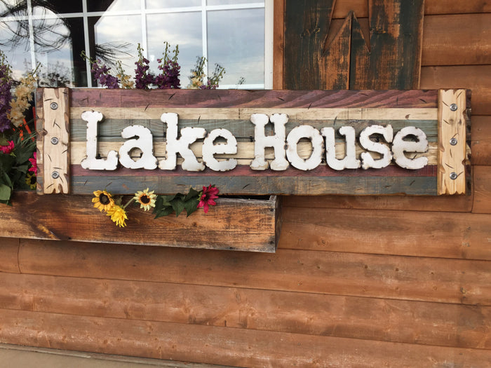 LAKE HOUSE Rustic Sign Reclaimed Shutter Industrial Metal Large Wall Cabin Gift Home Decor