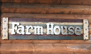 FARM HOUSE Farmhouse Decor Wall Sign Rustic Shutter Distressed Industrial Blue Green Red - Wooden Hearts Inc
