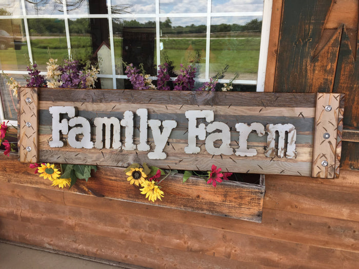FAMILY FARM Farmhouse Decor Wall Rustic Sign Shutter Distressed Industrial Farmer