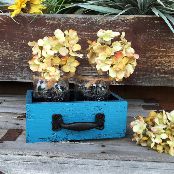 MASON Jar Centerpiece DRAWER Wood Box Ball Canning 2 Jars Handle Blue White Red Teal