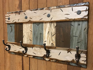 "COAT RACK Wall with Metal 4 Hooks Rustic Sturdy Wood Entryway Bathroom Office 28"" - Wooden Hearts Inc"