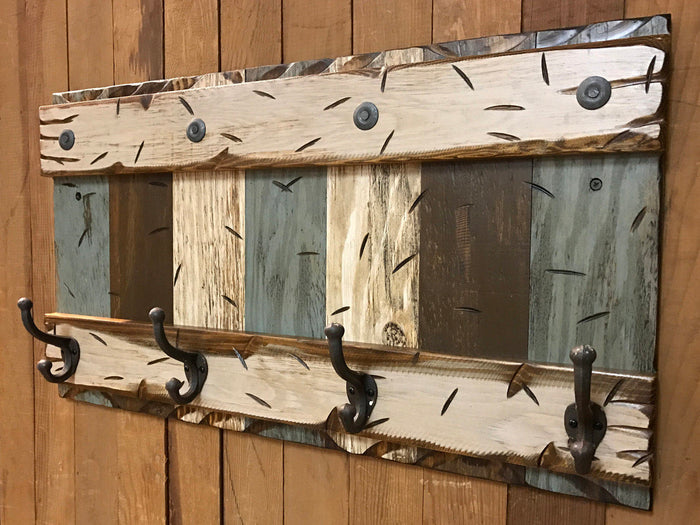 COAT RACK Wall with Metal 4 Hooks Rustic Sturdy Wood Entryway Office 28""