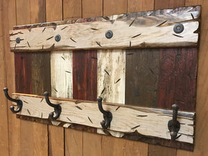 "COAT RACK Wall with Metal 4 Hooks Rustic Sturdy Wood Entryway Office 28"" - Wooden Hearts Inc"