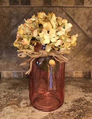 QUART JAR with jute Decor (Optional Flower) Jars Amber Ruby Red Sapphire Blue - Wooden Hearts Inc