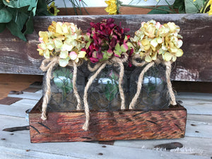 Table Centerpiece Quart TRAY with 3 Vintage TONIC Jars Chicken Wire, Kitchen Table Counter Decor - Wooden Hearts Inc