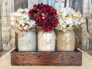 MASON Jar Centerpiece *3 QUART Jars in Wood Tray (Flowers optional) Table Decor - Wooden Hearts Inc