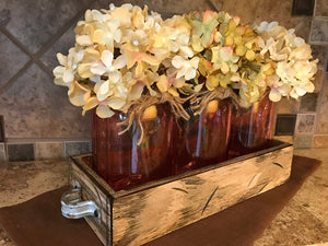QUART Jar Centerpiece in TRAY with 3 Clear Colored Jars, Kitchen Decor with Optional Flowers - Wooden Hearts Inc