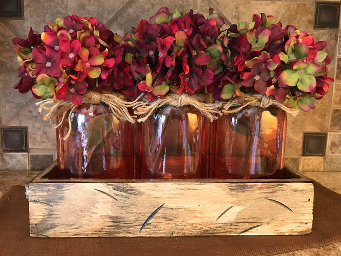QUART Jar Centerpiece in TRAY with 3 Clear Colored Jars, Kitchen Decor with Optional Flowers