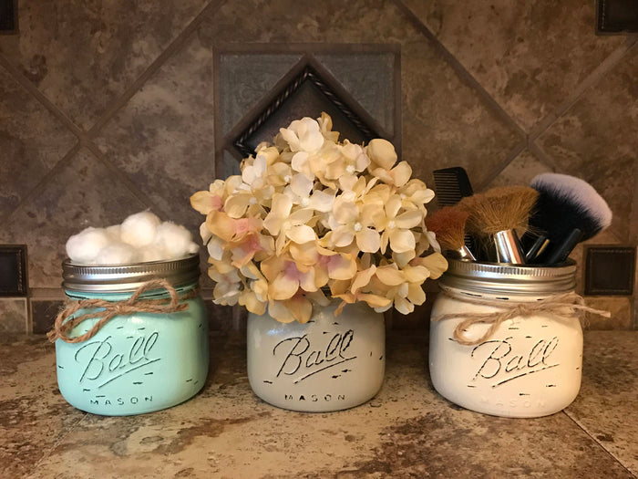 MASON Jar Decor Distressed Ball SHORT PINT Hand Painted Jars Cream Brown Gray Blue Bathroom Kitchen