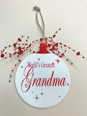 Christmas ORNAMENT World's Greatest Grandma Grandpa, Tree Memory Gift *Glitter Wood - Wooden Hearts Inc