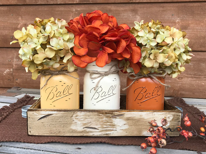 FALL MASON 3 Jars Wood Tray Decor for Thanksgiving Centerpiece (Flowers optional) Ball Pint