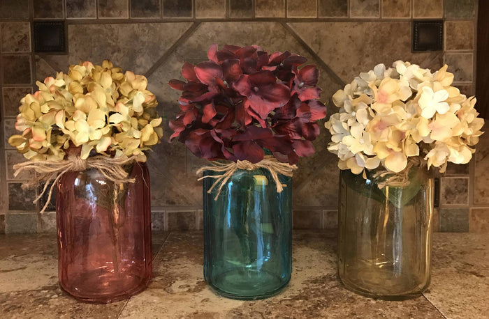 QUART JAR with jute Decor (Optional Flower) Jars Amber Ruby Red Sapphire Blue