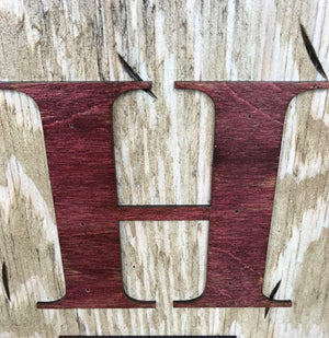 WISCONSIN Sign  Farm Home Lake Welcome word, Rustic Distressed Wood 50 States WI - Wooden Hearts Inc