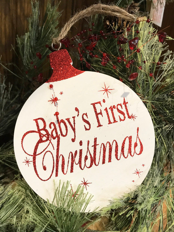 Baby's first Christmas ORNAMENT Tree Memory 1st Gift for a boy or girl, *Glitter Wood